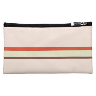 Stripes in red green brown on pink makeup bag