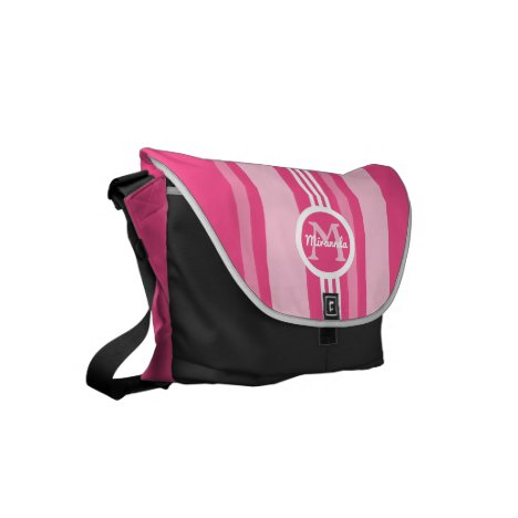 Stripes in Shades of Pink Small Messenger Bag