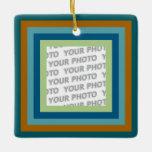 Stripes in Square Frame 9 + your photo Square Ornament