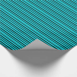Stripes in Turquoise & Black Wrapping Paper