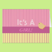Stripes It's A Girl! Card