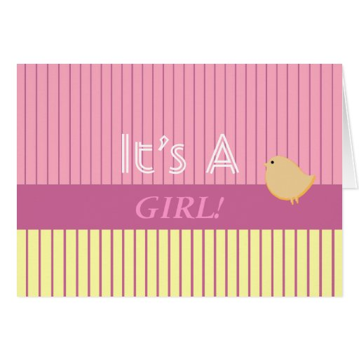 Stripes It's A Girl! Greeting Card