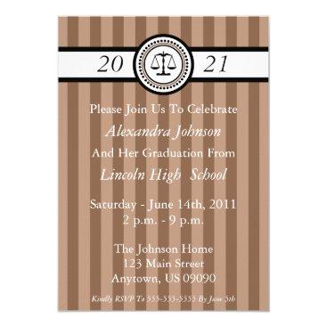 Stripes Law School Graduation Invitations (Brown)