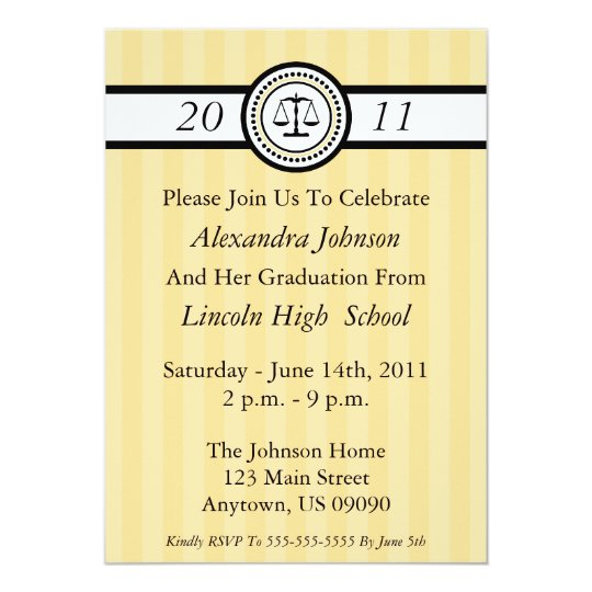 Stripes Law School Graduation Invitations (Gold)