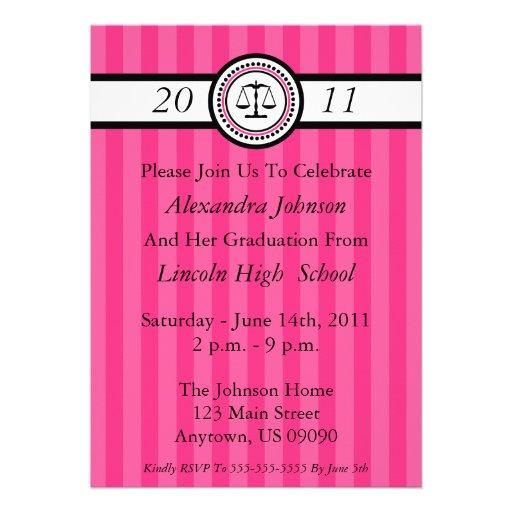 Stripes Law School Graduation Invitations Hot Pink