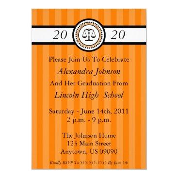Stripes Law School Graduation Invitations (Orange)