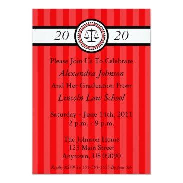 Stripes Law School Graduation Invitations (Red)