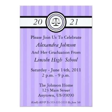 Stripes Law School Graduation Invitations (Violet)