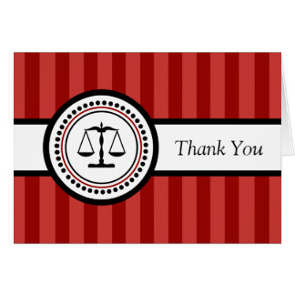 Stripes Legal Scales Thank You Card (Maroon)