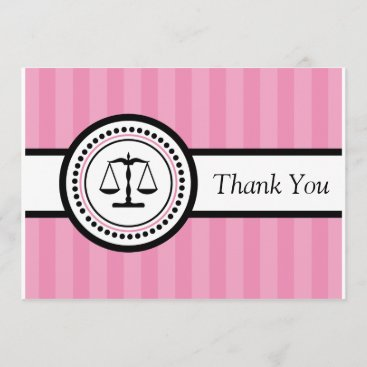Stripes Legal Scales Thank You Card (Pink)