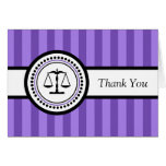 Stripes Legal Scales Thank You Card (Purple)