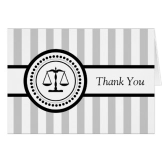 Stripes Legal Scales Thank You Card (Silver)