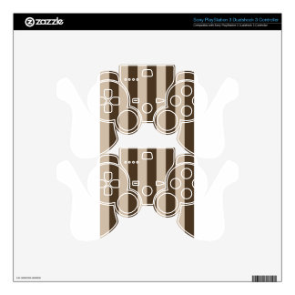 Stripes - Light Brown and Dark Brown PS3 Controller Skins