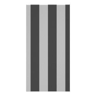 Stripes - Light Gray and Dark Gray Custom Photo Card
