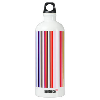 Stripes Line Art Fashion Passion, Green, Pink, Sty Aluminum Water Bottle
