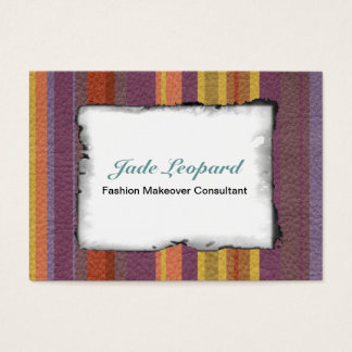 STRIPES & LINES in earthy colors leather print Business Card