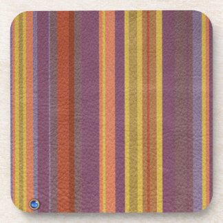 STRIPES & LINES in earthy colors leather print Drink Coaster