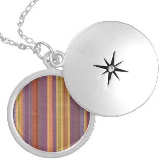 STRIPES & LINES in earthy colors leather print Silver Plated Necklace