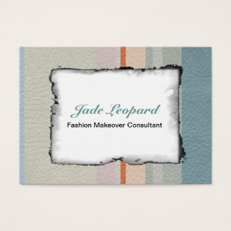 STRIPES & LINES in pastel colors leather print Business Card