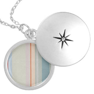 STRIPES & LINES in pastel colors leather print Locket Necklace