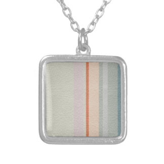 STRIPES & LINES in pastel colors leather print Silver Plated Necklace