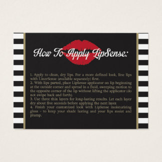 Stripes - Lips - Gold - How to Apply - Tips Business Card