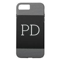Stripes Monogram black iPhone 7 Plus Case