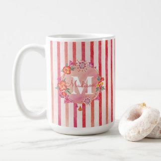 Stripes & Monogram Flourish-Watercolor Floral Coffee Mug