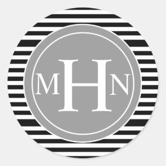Stripes & Monogram| Monogram Shop Round Sticker