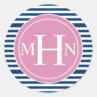 Stripes & Monogram| Monogram Shop Round Stickers