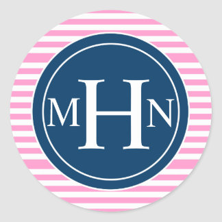 Stripes & Monogram| Monogram Shop Sticker