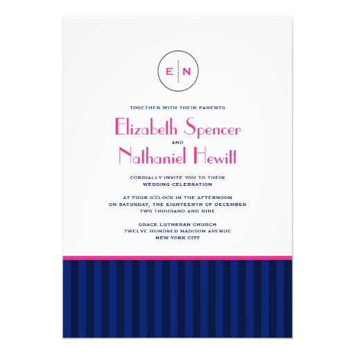 Stripes Monogram Wedding Invitation Blue & Pink