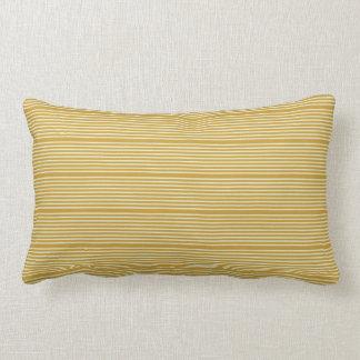 Stripes natural colors yellow ochre pale green lumbar pillow