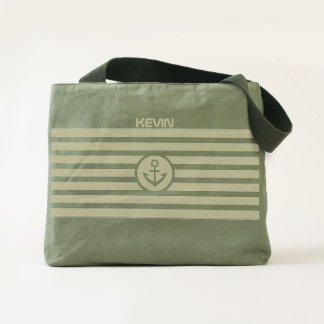 Stripes & Nautical boat Anchor And Monogram Tote