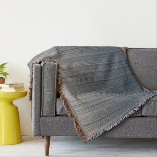 Stripes of Slate and Cream Throw Blanket