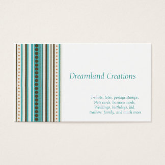 Stripes of teal and gold business cards template