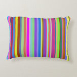 [ Thumbnail: Stripes of Various Colors Accent Pillow ]