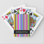 "Stripes of Various Colors   Custom Name Bicycle Playing Cards<br><div class=""desc"">This playing cards design features an eyecatching pattern of stripes (or lines) of various colors. It also features a custom name.</div>"