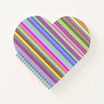 [ Thumbnail: Stripes of Various Colors Heart Shaped Notebook ]