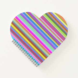 Stripes of Various Colors Heart Shaped Notebook