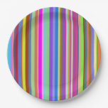 [ Thumbnail: Stripes of Various Colors Paper Plate ]