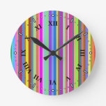 [ Thumbnail: Stripes of Various Colors Round Clock ]