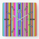 [ Thumbnail: Stripes of Various Colors Square Clock ]