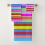 [ Thumbnail: Stripes of Various Colors Towel Set ]