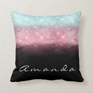 Beach Themed Stripes Ombre Name Tiffany Aqua Beach Black Blue Throw Pillow