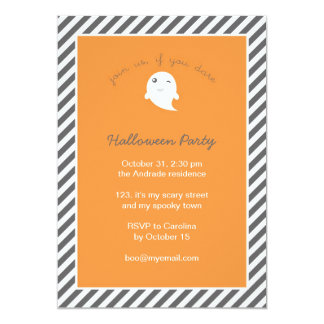 Stripes Orange Cute Ghost Kids Halloween Party Card