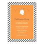 Stripes Orange Cute Ghost Kids Halloween Party Invitation