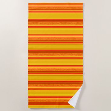 Beach Themed Stripes Orange Yellow Modern Beach Towel