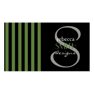 Stripes (Parallel Lines) - Black Green Business Cards
