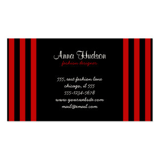 Stripes (Parallel Lines) - Black Red Double-Sided Standard Business Cards (Pack Of 100)